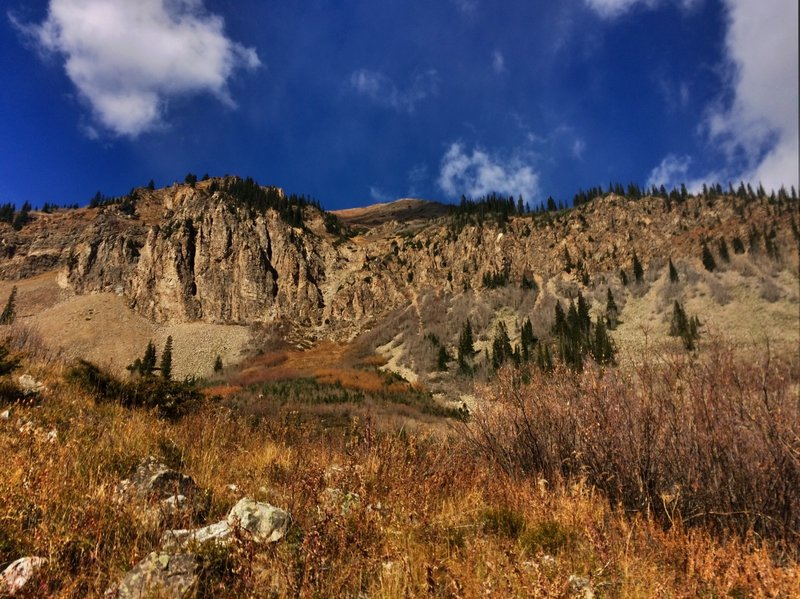 View of the ridge on the trail up to Cathedral Lake.