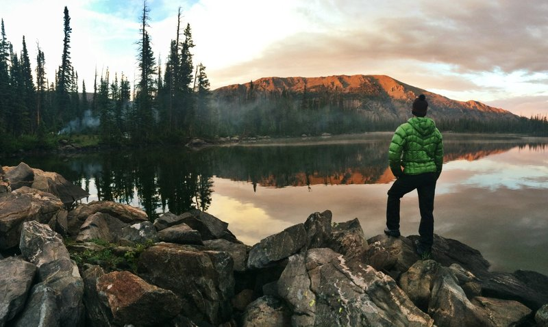 A peaceful evening at Bear Lakes taking in the sunset on Bear Mountain.