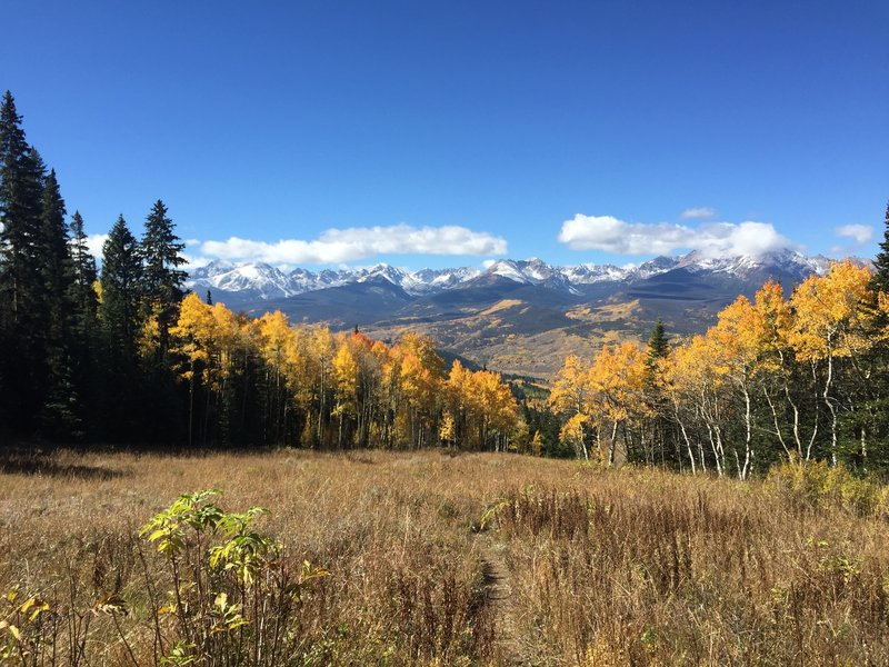 Views of the Gore Range start pretty quickly after you start climbing the trail.