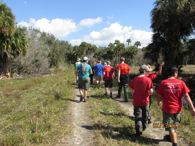 A Boy Scout Troop camping for the weekend took a guided hike down the Easement Road.