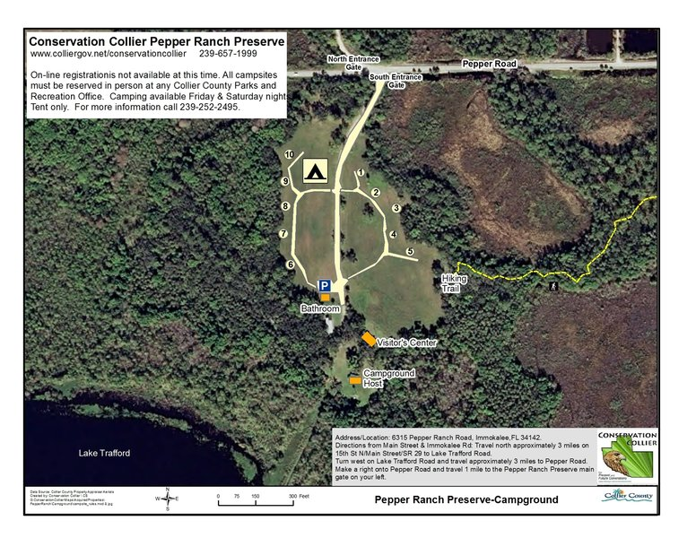 The Campground Road circles the 10-space primitive campsite where each site has a table, fire pit, tent site and food pole.