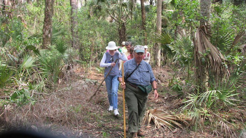 A group of hikers using the Black Bear Berm Trail.