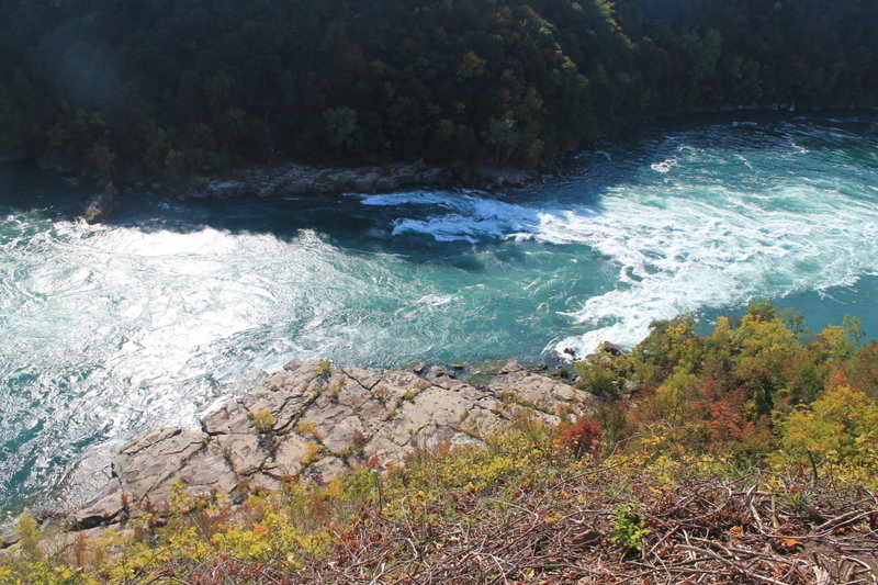 Overlooking the rocks and dramatic currents of the Niagara River.