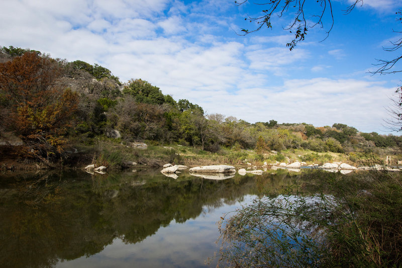 At the end of the trail, looking at the Pedernales River