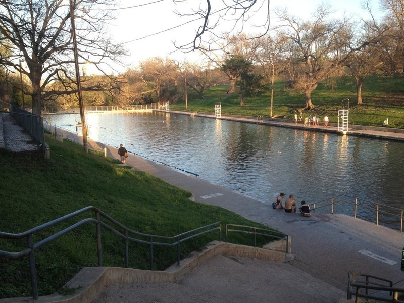 The Barton Springs pool is mostly empty during the fall months.