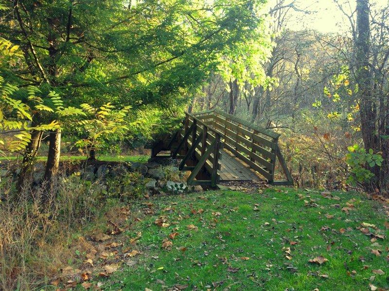 An arched bridge crossing Squaw Run in fall.