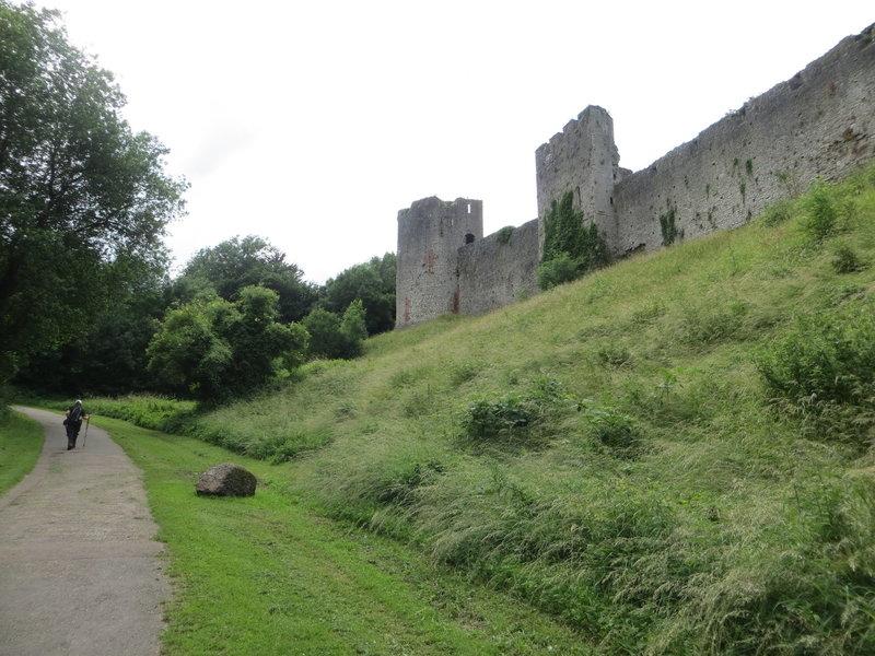 Walking beside Chepstow Castle.