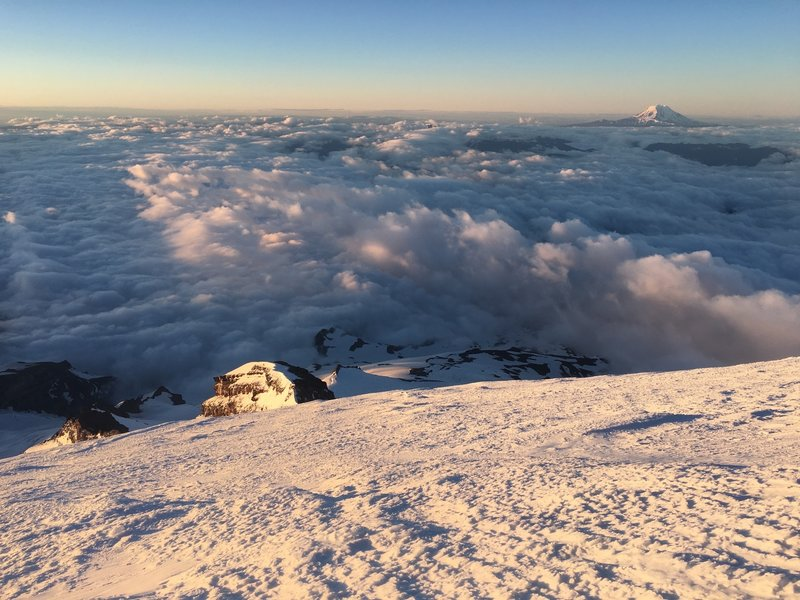 Sunrise on Mt. Adams from Mt. Rainier ascent.