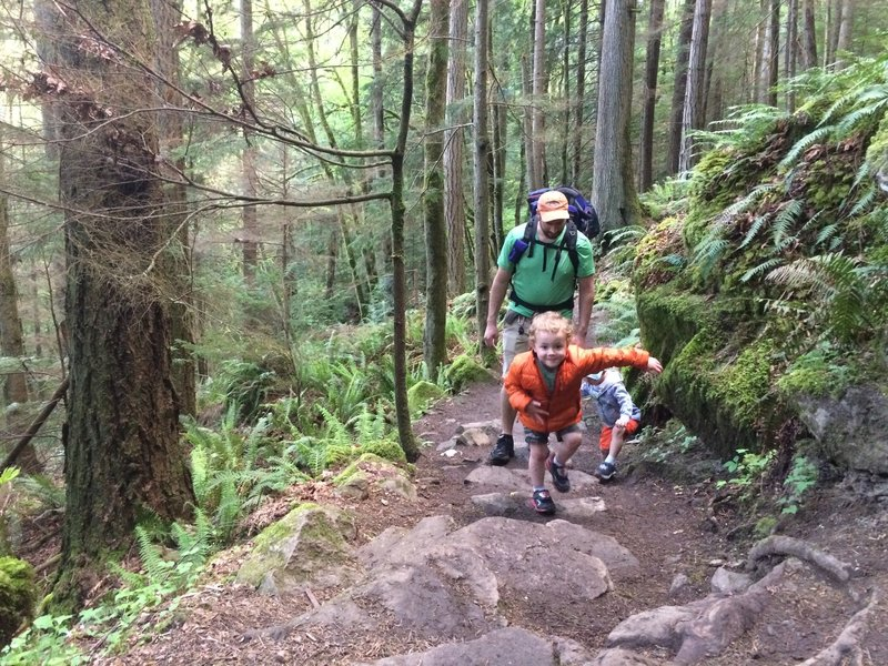 Toddlers getting outside on Chirico Trail.