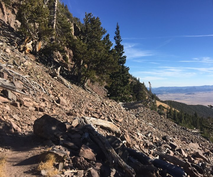 A large talus field on Comanche Trail.