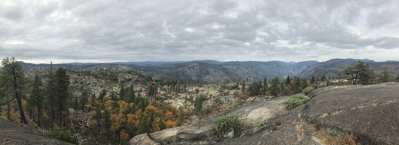 Panorama from Lookout Point looking in the direction of Hetch Hetchy Reservoir.