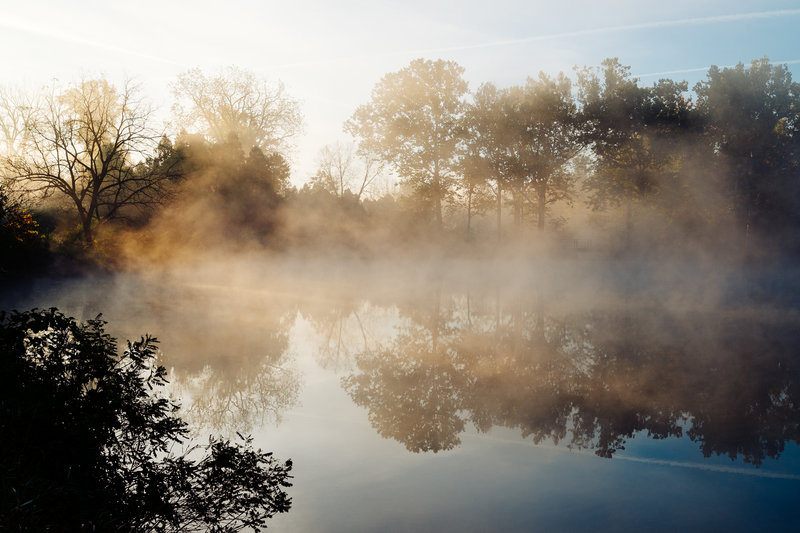 A misty morning over Lake Marmo.