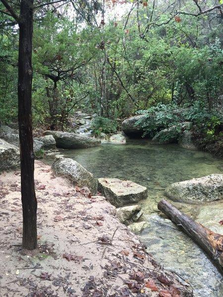 Tranquil waterfalls.