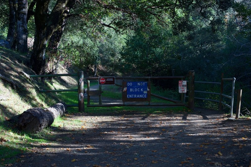 The gate at the entrance to the Alpine Road Trail. Mountain bikers like to ride down the trail from Page Mill Road.