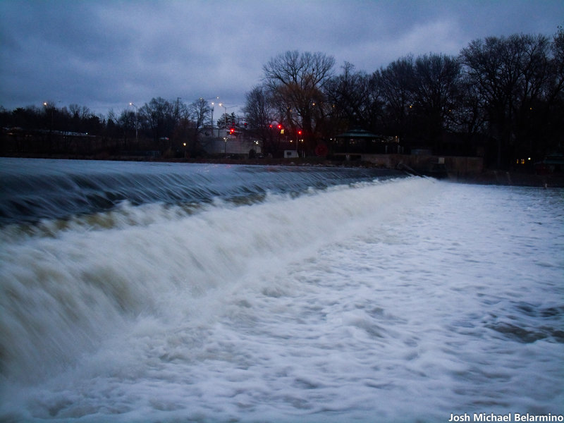 Surging water along the Fox River Trail.