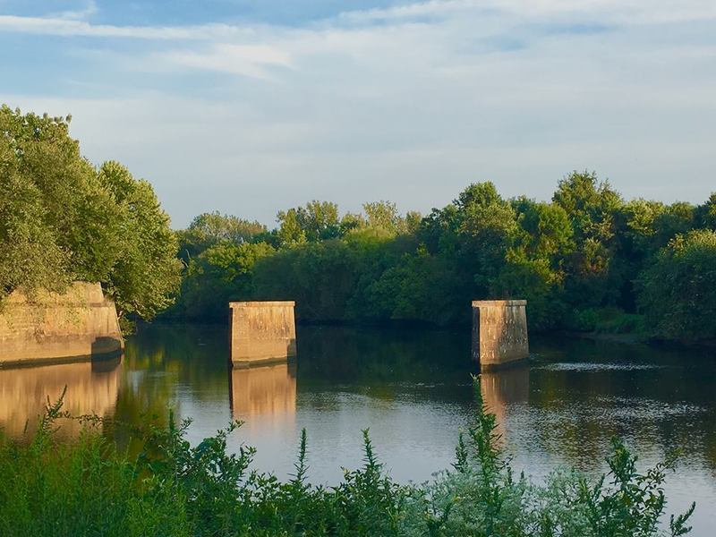 Historic railroad embankment.