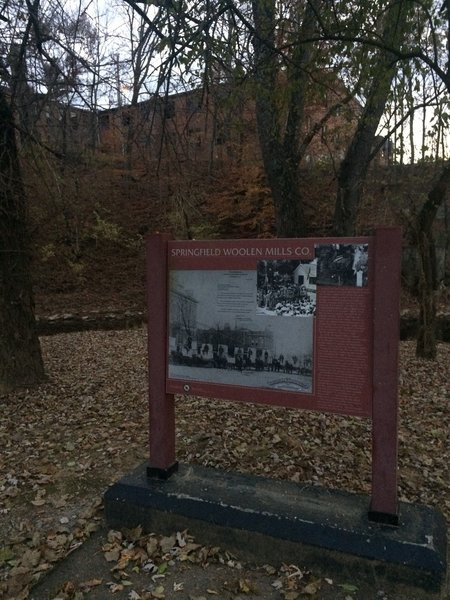There are many things to look at and explore along the Greenway including several historical landmarks such as the old Woolen Mill seen here.
