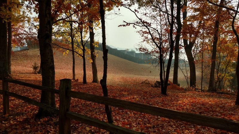 Beautiful view of the fort through the autumn foliage while following the path up from the visitor center.
