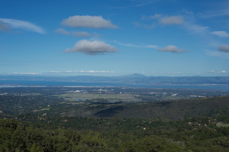 A view from he Vista Point overlooking the Stanford Dish Area and the South Bay area.