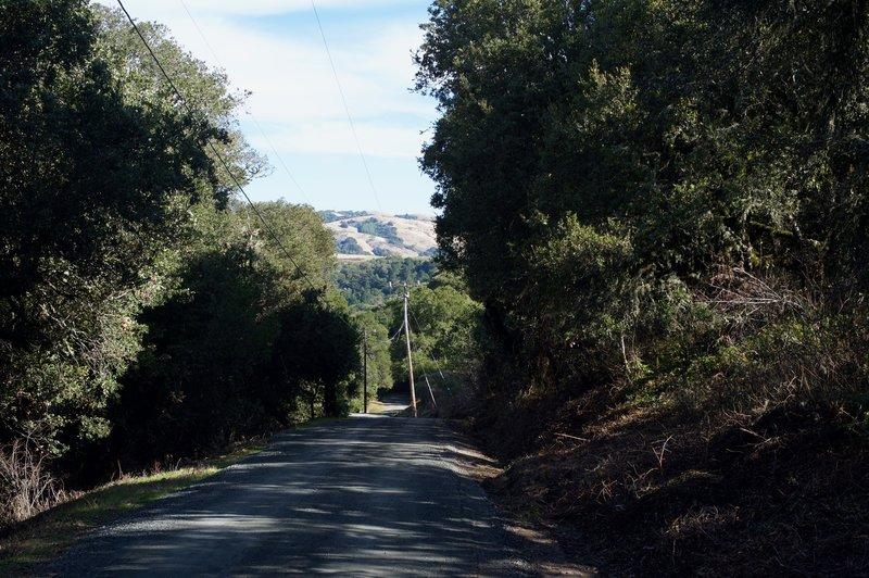 The trail descends along a gravel road.