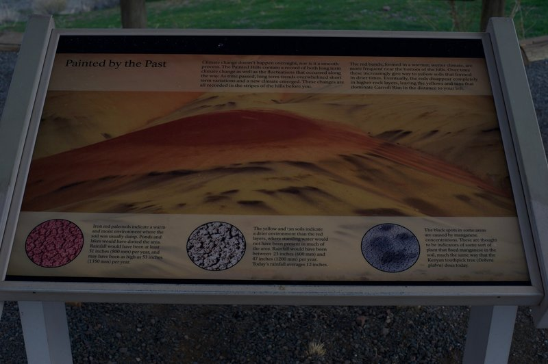 A sign at the overlook that shows the mineral composition of the hills and what the various colors represent.