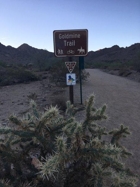 Goldmine Trailhead sign