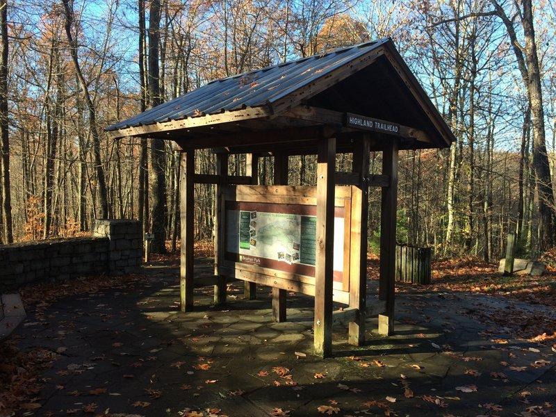 Kiosk at trailhead. Map is posted here.