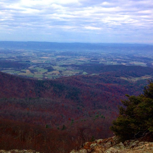 View from a rocky outcropping showing Shenandoah Valley and Luray.