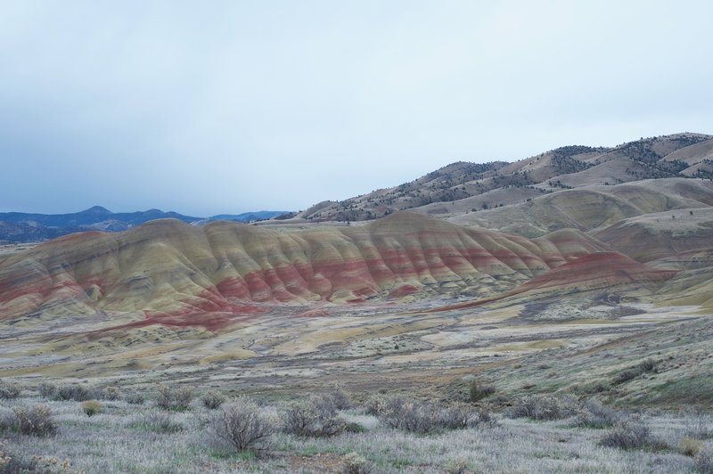 The Painted Hills are in full view throughout the hike.  Enjoy the reds, yellows, and blacks that paint the hills.