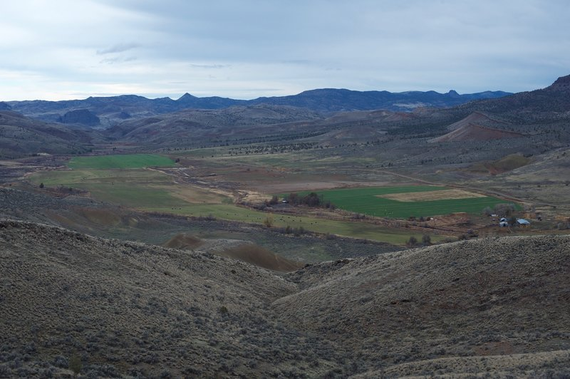 Views of a farm outside the monument boundary can be enjoyed from the trail.  Cattle, hay, and irrigation fields can be seen from here.