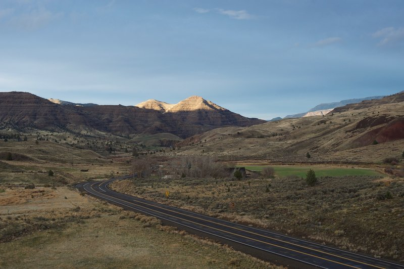 The surrounding hills at sunset and the Historic Cant Ranch from the end of the trail.