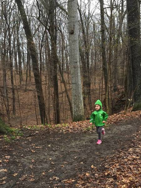 Julia (4 years old) running in the Medved Madness kid race.