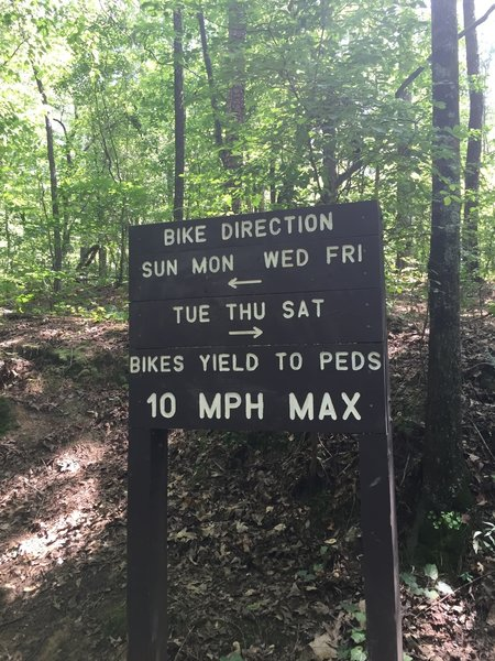 These directional signs for mountain bikers should also be noted by hikers, as they should hike in the opposite direction, against the cyclists.