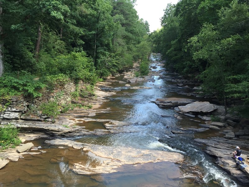 View of Sope Creek from the bridge crossing along Paper Mill Road. There are ruins on both sides here which can be accessed by the trail.