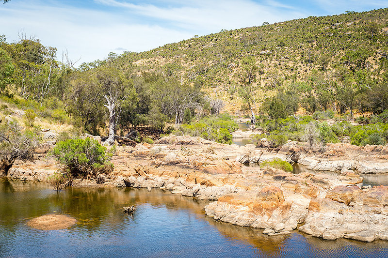 The Swan River flowing through over through the scenery.