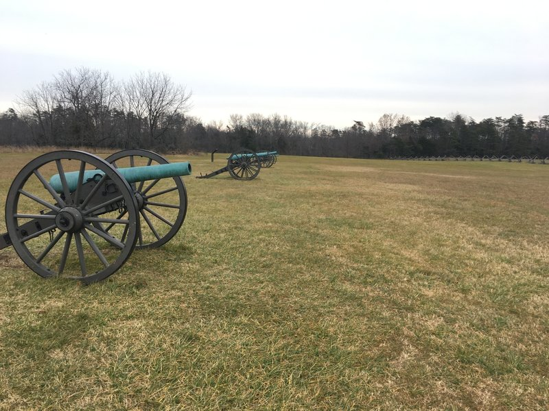 A battery of cannons welcomes visitors to the Matthews Hill Loop.