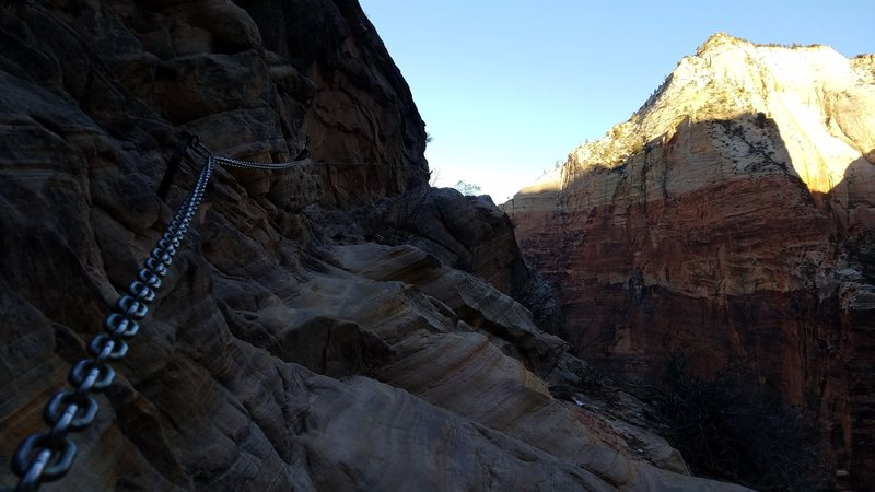 A chain railing provides some safety along part of the Hidden Canyon Trail.