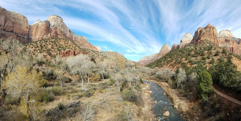 The view is spectacular when looking up the Virgin River.