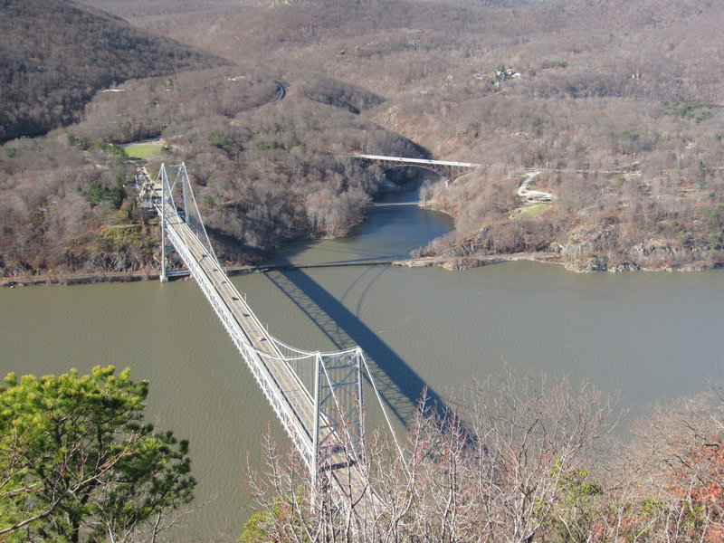 The view from Anthony's Nose to the Bear Mountain Bridge below