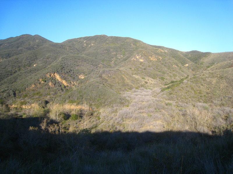 The Santa Monica Mountains cast a shadow near the Zuma Canyon Trailhead in Santa Monica Mountains National Recreation Area.
