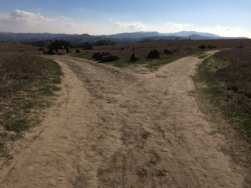 The junction of the Mary Weisbrock Trail and Ahmanson Ranch House Trail is pretty straightforward to navigate.