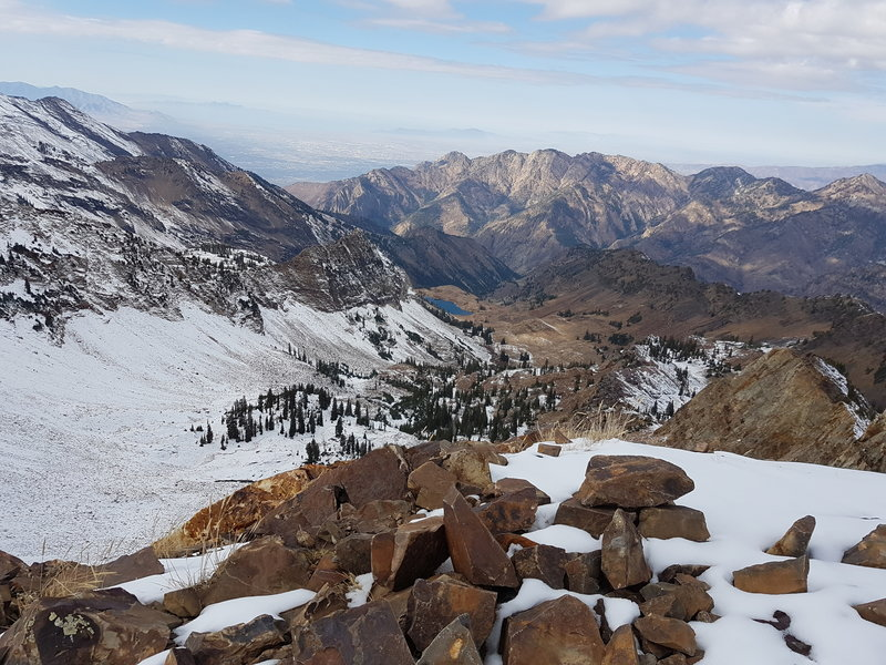 Looking down at Lake Blanche from the top of Mt. Supreme