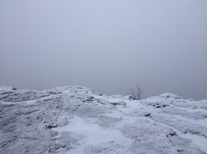 Overlooking Bean and Bear Lakes north of Silver Bay in white-out conditions