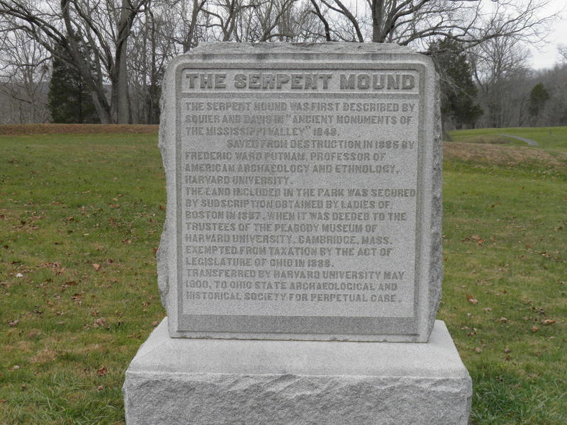 A plague at the Serpent Mound State Memorial.