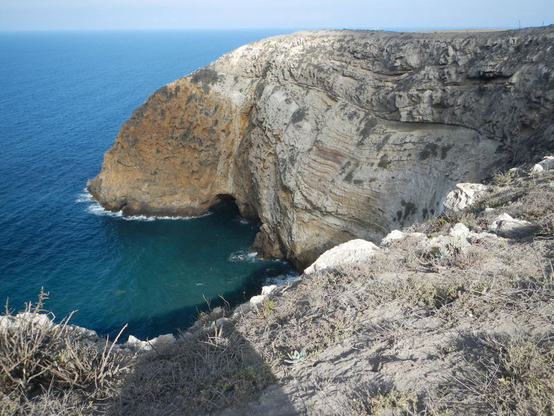 Facing the eastern part of the bay, down into the sea cave.