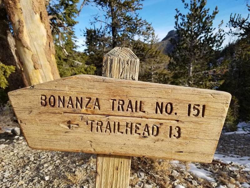 The Bonanza Trailhead is easy to spot along the Bristlecone Trail.