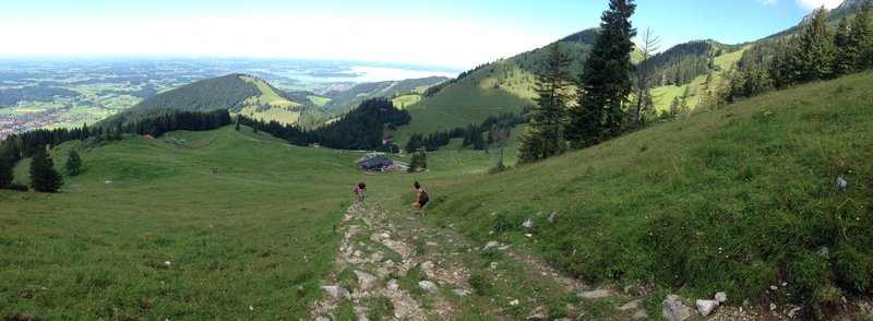 Scrambling down the Alm Connector.
