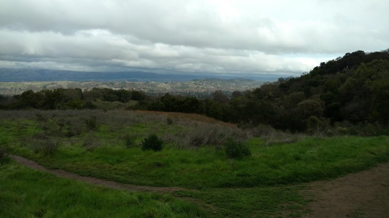 Winter view of San Jose, CA and the East (San Francisco) Bay hills