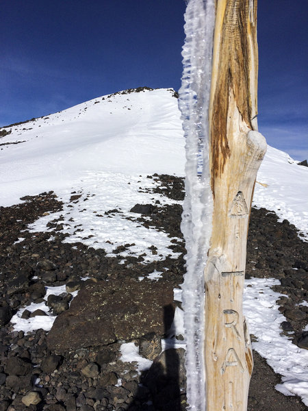 Some wind, snow, and noticeable ice on the way to the summit of Humphreys Peak, December 2016.