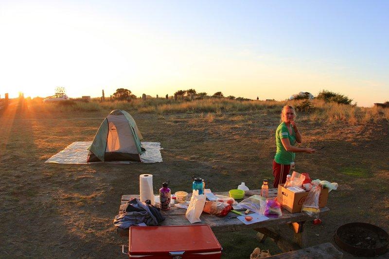 Dinner's ready at Gold Bluffs Beach Campground.